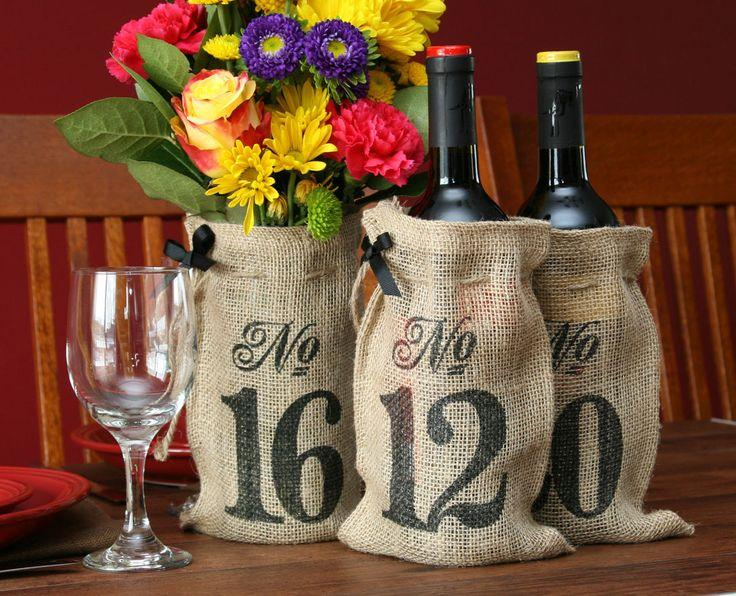 Hochzeit - Hortense Burlap Wine Bag Wedding Table Numbers 11-20