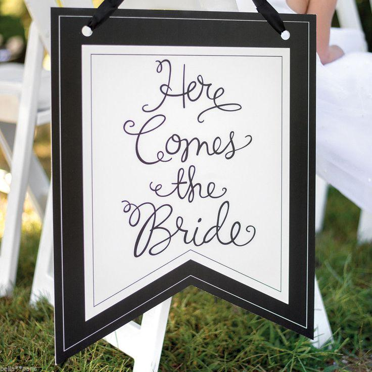 Wedding - Here Comes The Bride Wedding Ceremony Ring Bearer Pennant Sign