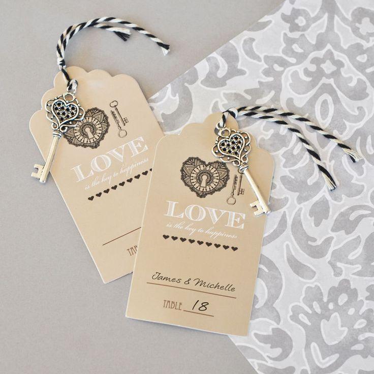 زفاف - 48 Key To Happiness Vintage Wedding Escort Tag Seating Card