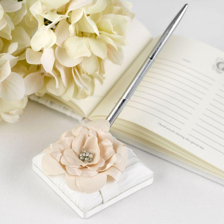 Love Blooms Ivory Wedding Pen With Base W/ Crystal Pearl Centered ...