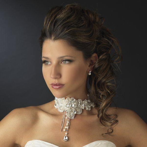 Wedding - NWT Vintage Look White Lace, Pearl And Rhinestone Bib Wedding Jewelry Set