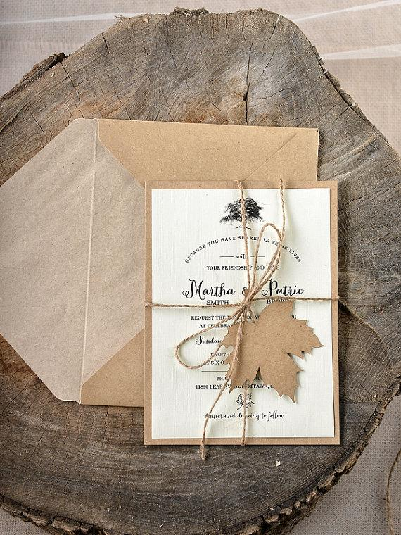 Свадьба - Rustic Maple Tree  Wedding Invitation -  LaserCut  Wedding Invitations