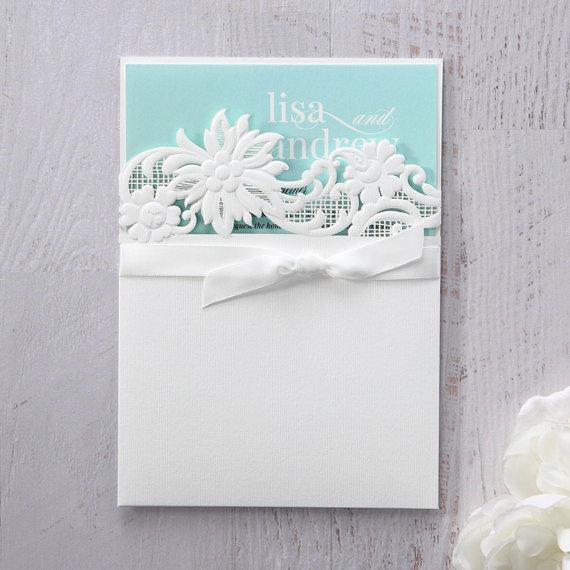 Wedding - Laser Cut Floral Half Pocket IWP14038-GR - Wedding Invitation Sample (IWP14038-GR) - New