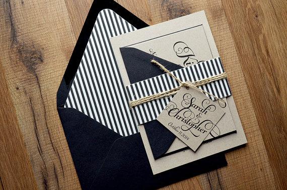 Hochzeit - Rustic Wedding Invitation, Black & Kraft Wedding Invite, Rustic Wedding Invite, Calligraphy Invitation - LASER PRINTED DEPOSIT - New