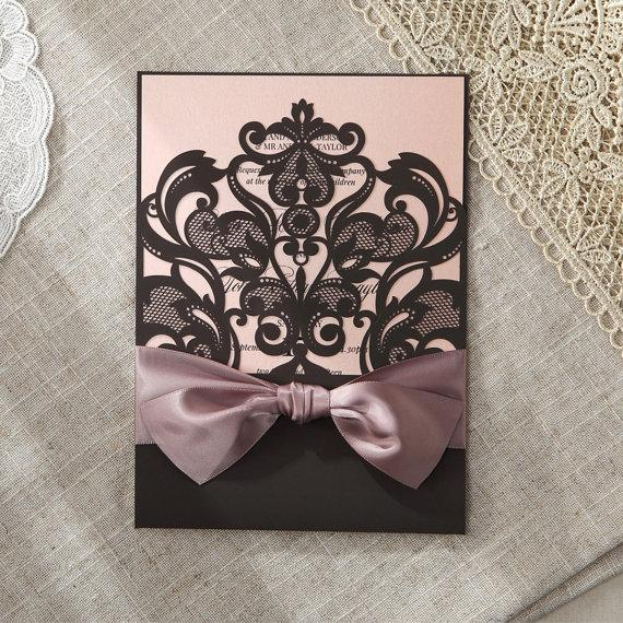 Mariage - Elegant Laser Cut Half Pocket with a Bow IWP14082-OG - Wedding Invitation Sample (IWP14082-OG) - New
