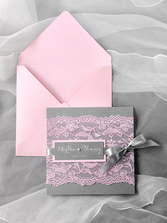 custom listing 50 pink lace wedding invitation pocket fold