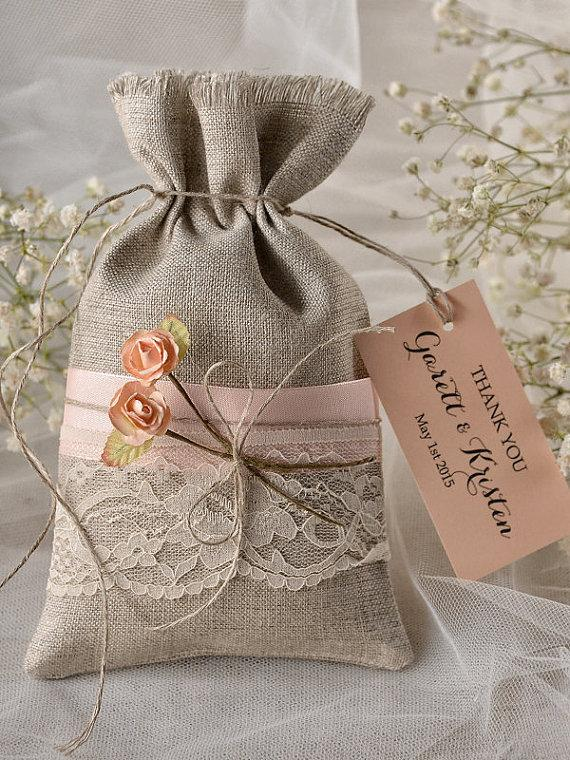 Custom Listing 20 Peach Rustic Favor Bag Wedding Lace Thank You Bags Gift New