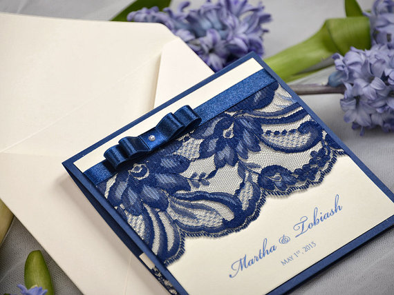 Wedding - Custom listing (20) Navy Lace Ecru Wedding Invitation, Pocket Fold Wedding Invitations , Vintage Wedding invitation - New