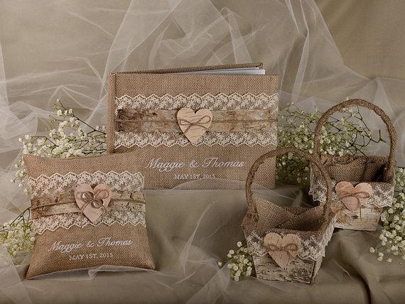 Burlap Natural Birch Bark Wedding Set, Guest Book, Rustic Guestbook, Shabby  Chic Burlap Ring Bearer Pillow, Birch Bark Baskets   New