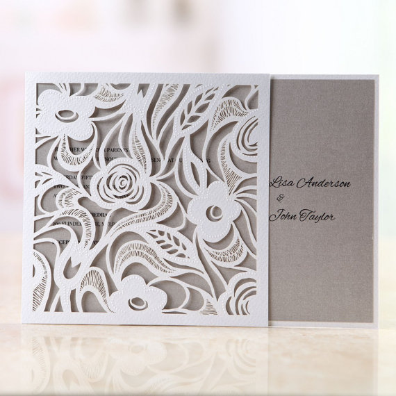 Mariage - Wild Roses Laser Cut Wrap-Wedding Invitation Sample(BH3595) - New