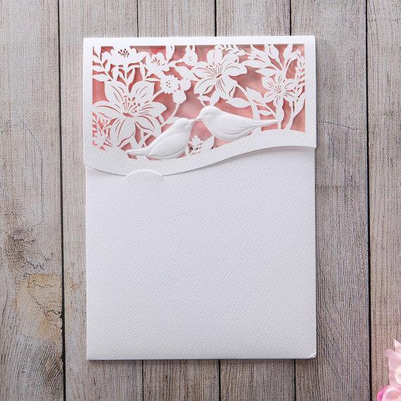 Mariage - Lasercut pocket with Love Birds IWP14001-PK - Wedding Invitation Sample (IWP14001-PK) - New
