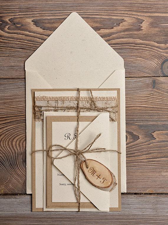 Custom Listing (20) Lace Eco Recycling Paper Wedding Invitation, Birch Bark  Slice Rustic Wedding Invitations, Country Style Wedding   New