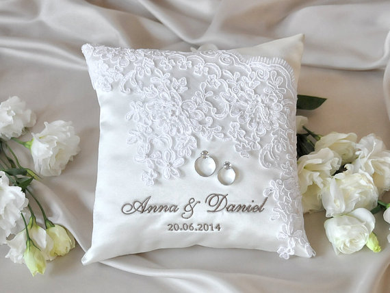 Purple And Silver Ring Bearer Pillow