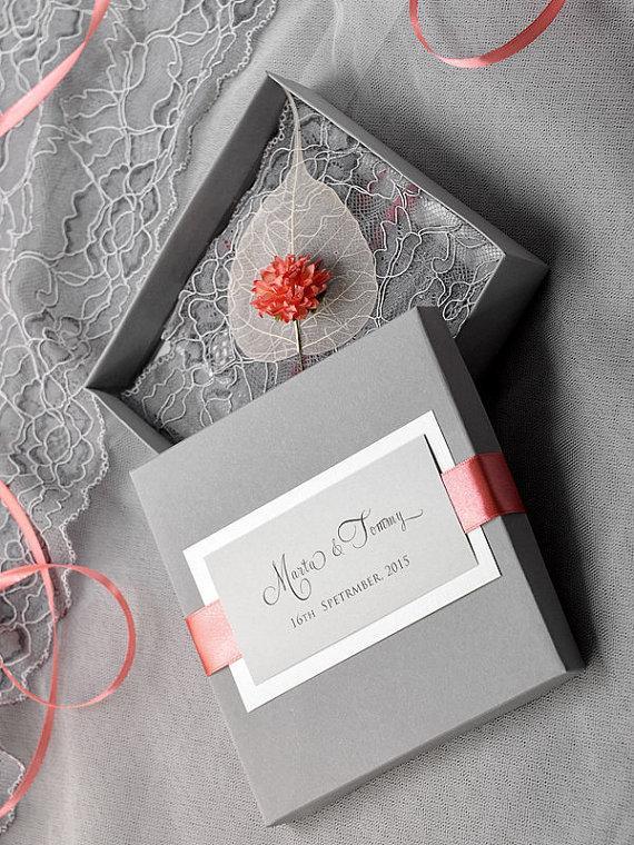 custom listing 100 box and lace wedding invitation vintage wedding invitations coral and grey box wedding invitation new - Coral And Grey Wedding Invitations