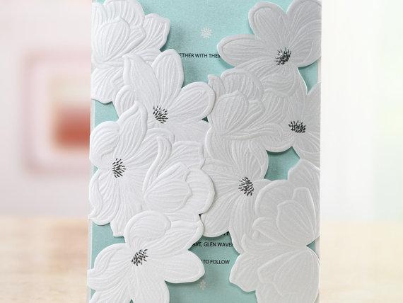 Mariage - Laser Cut Flower Wrap -Wedding Invitation Sample (BH1683) - New