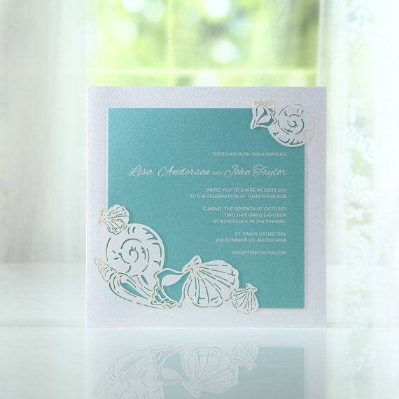 زفاف - Ocean Frame I Laser Cut BH3667 - Wedding Invitation Sample (BH3667) - New