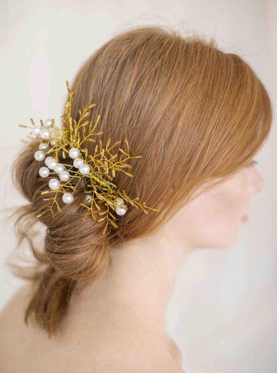 زفاف - Catalina  Hand Beaded Gold Wired Pearl  Headpiece  Bridal  Wedding - New