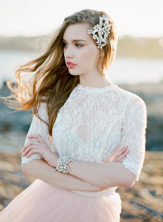 Mariage - Rhea Comb  Swarovski Crystal Silver Bridal Headpiece  Wedding - New