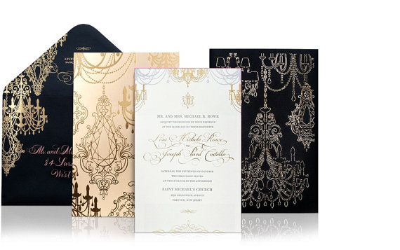 Gold Foil Stamped Wedding Invitations: Luxury Wedding Invitations Laser Cut Gold Silver Foil