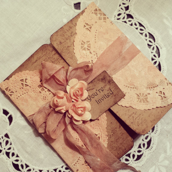 Peach Doily Tri-fold Rustic Invitation, With Small Flowers ...