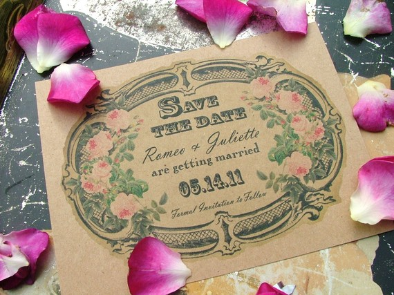 Wedding - Eco Friendly Vintage Victorian Label Save the Date Postcards      deposit - New