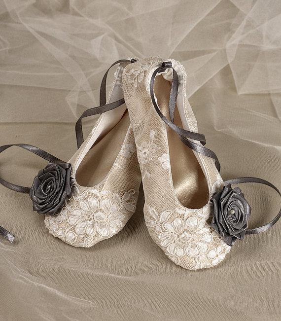 Satin Flower Shoes Baby Toddle Ballet Flats For S Champagne And Grey Lace Ballerina Slippers New