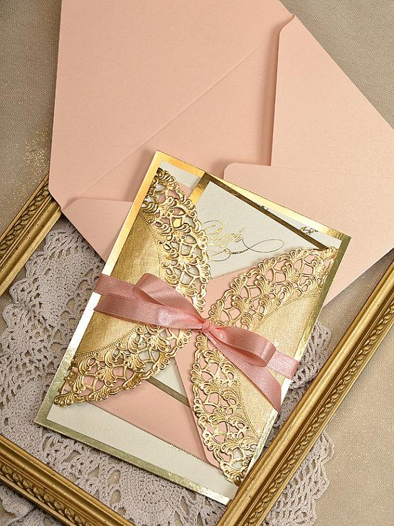 gold and peach wedding invitation