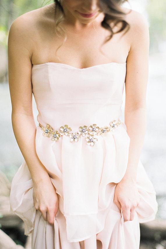 Свадьба - Floral Gold Sash with Crystals Bridal Belt - New