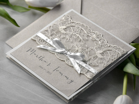 eco lace wedding invitation pocket fold invitations - Vintage Lace Wedding Invitations