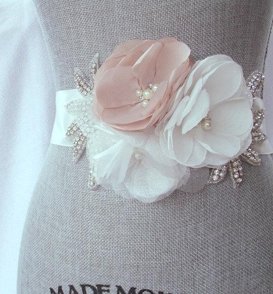 Свадьба - Blush Bridal Sash with Rhinestone Applique Embellishment , Blush and Ivory Bridal Belt, Rhinestone Bridal Sash - New