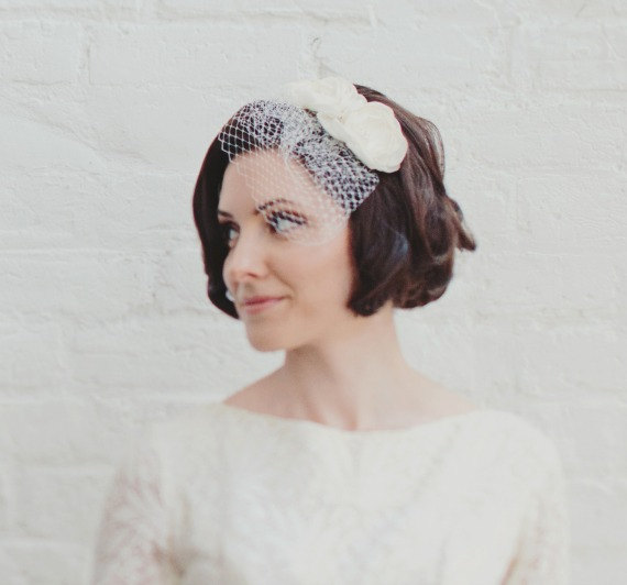 Ivory Flower Fascinator Headband With Birdcage Blusher Veil Wedding Floral