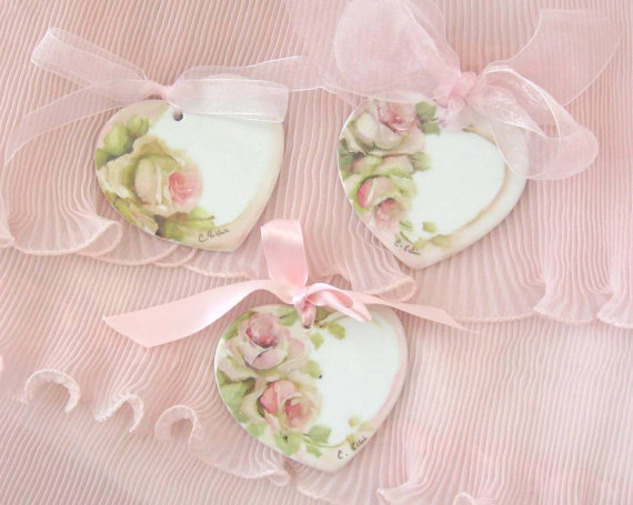 Lovely Rose Romantic Vintage Shabby Chic Wood Hearts For ...