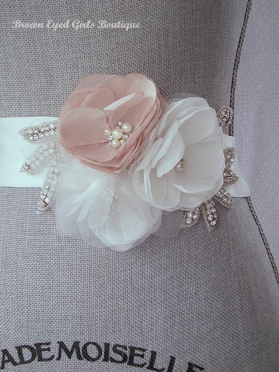 Mariage - Blush Bridal Sash with Rhinestone Applique Embellishment , Blush and Ivory Bridal Belt, Rhinestone Bridal Sash - New