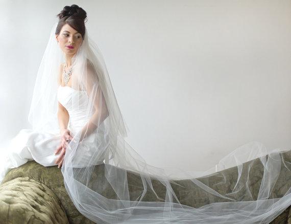زفاف - Bridal Veil, Traditional Veil,  Two Layer Cathedral Veil, Wedding Veil, Wedding Hair Accessory, Long Veil - New