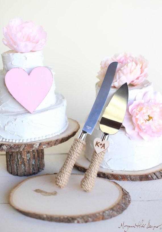 Personalized Rustic Wedding Cake Knife Serving Set Item Number 140343NEW ITEM