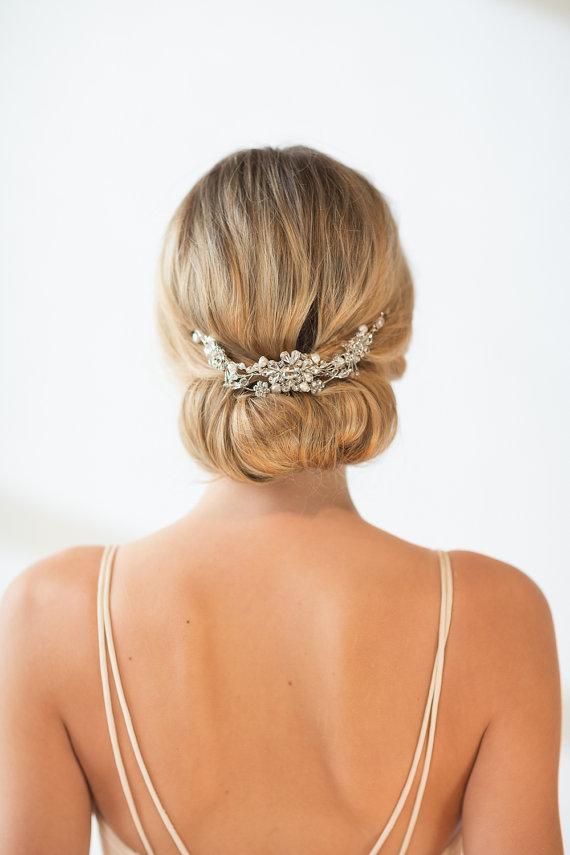 Свадьба - Bridal Hair Accessory,  Crystal Hair Swag, Wedding Hair Vine - New