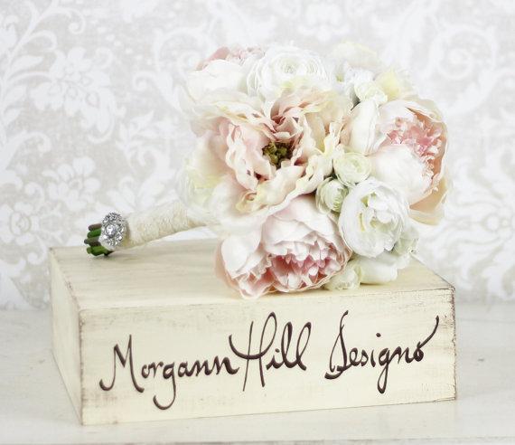 زفاف - Silk Bride Bouquet Peony Flowers Peonies Shabby Chic Wedding Arrangement - New