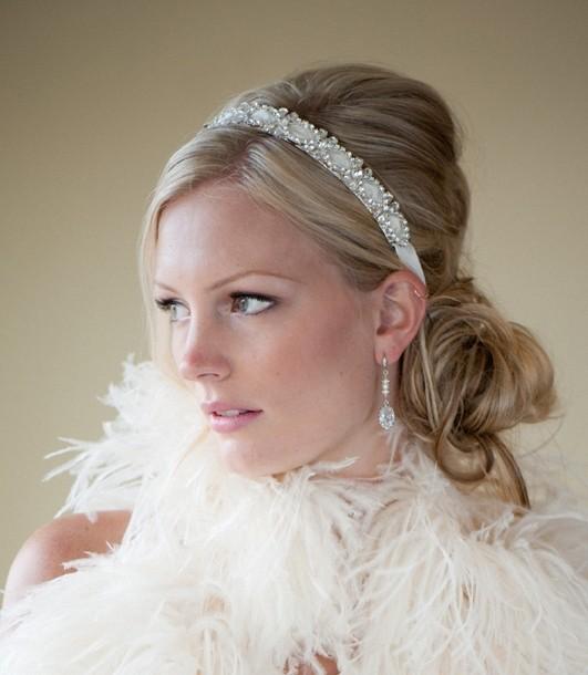 Свадьба - Bridal Headband, Bridal Ribbon Headband, Wedding Headpiece, Ribbon and Crystal Headband - FELECIA - New