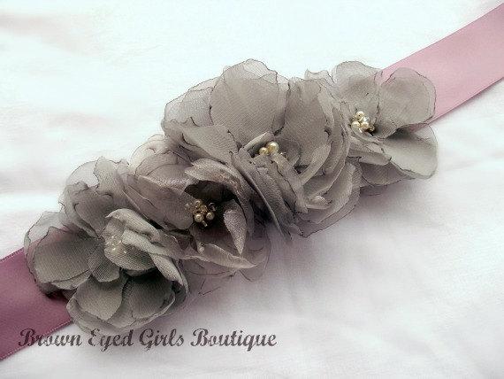 Свадьба - Gray and Lilac Bridal Sash -Gray Chiffon Flowers with Lilac Ribbon Sash - New