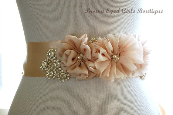 Mariage - Blush and Champagne Bridal Sash with Rhinestone Applique Embellishment , Blush and Champgne Bridal Belt, Rhinestone Bridal Sash - New