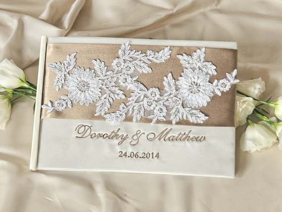 b491c4c93751 Lace Vintage Champagne Guestbook - Custom Colors Wedding Guest Book ...