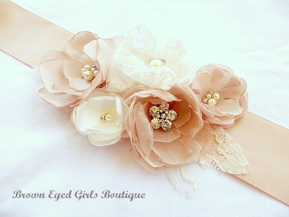 Mariage - Blush, Champagne and Ivory Lace Bridal Sash, Blush Wedding Sash, Blush Wedding Belt - New