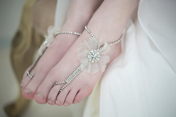 Свадьба - Barefoot Wedding Sandals, Beach Wedding Sandals, Beaded Barefoot Bridal Sandals - New