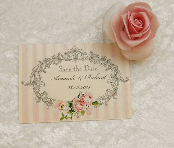 Mariage - Vintage Style Save the Date Cards - In the Pink - New