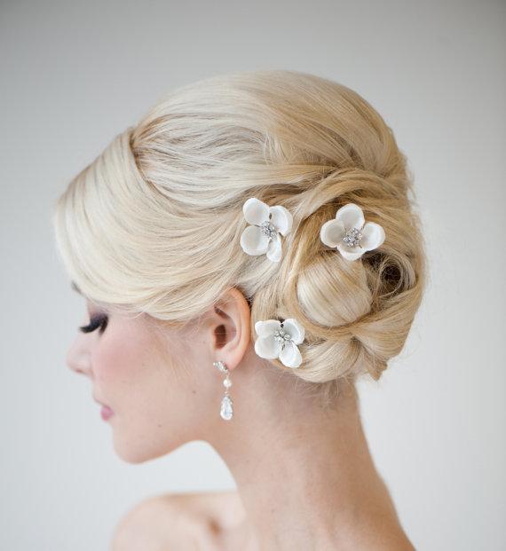 Hochzeit - Silk Flower Hairpins -  Bridal Hairpins