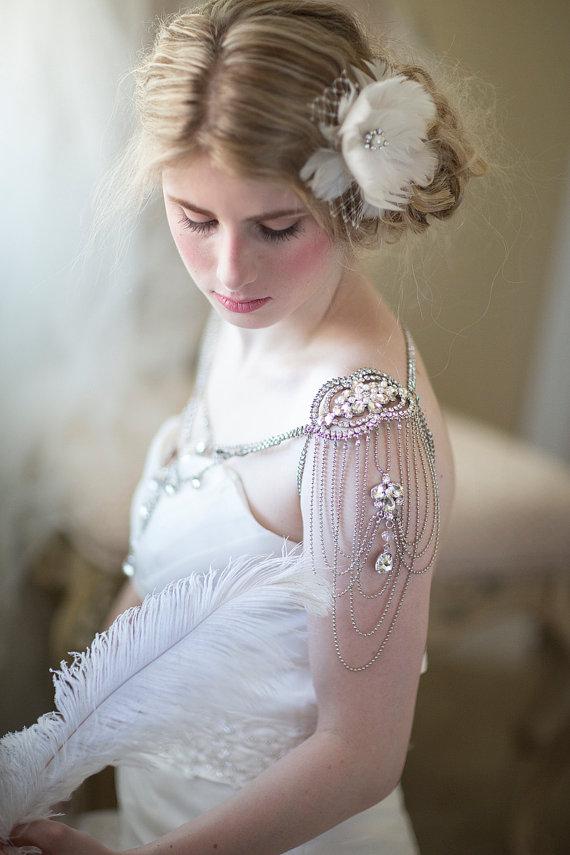 Bridal shoulder jewelry wedding crystal epaulettes for Bracelet for wedding dress