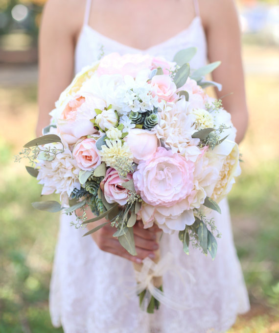 Silk Bride Bouquet Cream And Pale Pink Roses And Peonies Wildflowers Natural Bouquet Shabby Chic