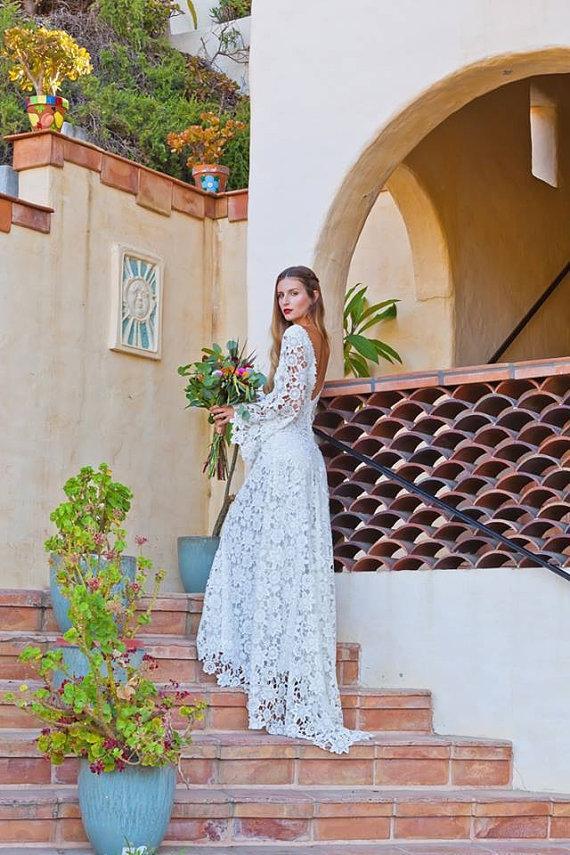 Hochzeit - Crochet Lace Bohemian Wedding Dress. OPEN BACK with BOHO Bell Sleeves. Simple Elegant Lace Gown. Low Back Lace Wedding Dress. Ivory or White - New