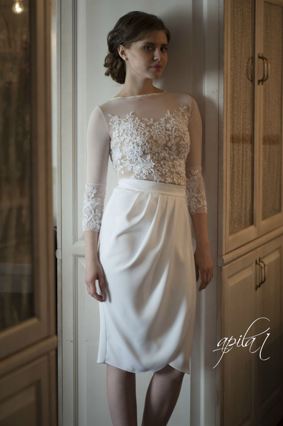 Hochzeit - Short Wedding Dress, White and Nude Wedding Dress, Crepe and Lace Dress L10 - New
