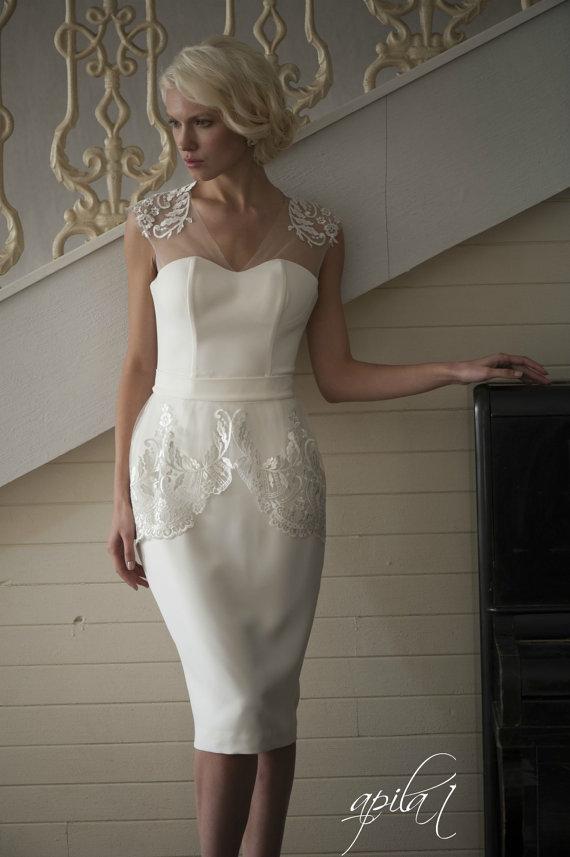 زفاف - Short Wedding Dress, Ivory Wedding Dress, Crepe and Lace Dress L3 - New